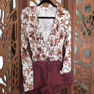 Paisley long sleeve body suit